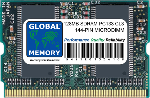 128MB SDRAM PC133 133MHz 144-PIN MICRODIMM MEMORY RAM FOR TOSHIBA LAPTOPS/NOTEBOOKS