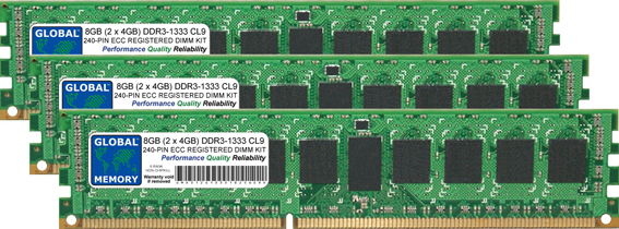 12GB (3 x 4GB) DDR3 1333MHz PC3-10600 240-PIN ECC REGISTERED DIMM (RDIMM) MEMORY RAM KIT FOR SUN SERVERS/WORKSTATIONS (6 RANK KIT NON-CHIPKILL)