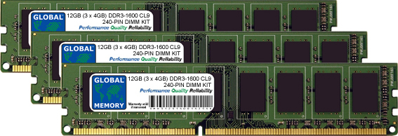 12GB (3 x 4GB) DDR3 1600MHz PC3-12800 240-PIN DIMM MEMORY RAM KIT FOR DELL DESKTOPS