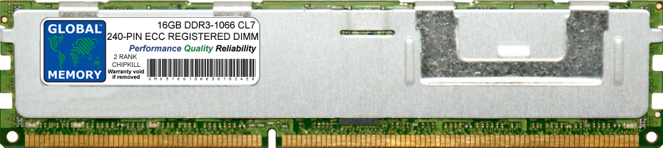 16GB DDR3 1066MHz PC3-8500 240-PIN ECC REGISTERED DIMM (RDIMM) MEMORY RAM FOR DELL SERVERS/WORKSTATIONS (2 RANK CHIPKILL)