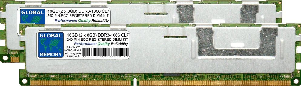 16GB (2 x 8GB) DDR3 1066MHz PC3-8500 240-PIN ECC REGISTERED DIMM (RDIMM) MEMORY RAM KIT FOR SERVERS/WORKSTATIONS/MOTHERBOARDS (8 RANK KIT NON-CHIPKILL)