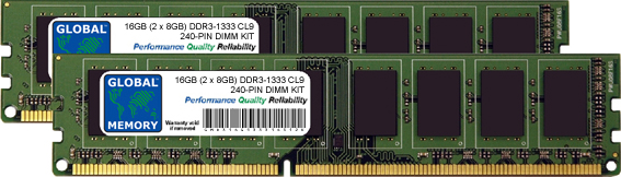 16GB (2 x 8GB) DDR3 1333MHz PC3-10600 240-PIN DIMM MEMORY RAM KIT FOR PC DESKTOPS/MOTHERBOARDS
