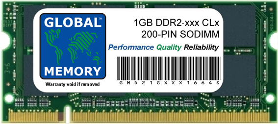 1GB DDR2 400/533/667/800MHz 200-PIN SODIMM MEMORY RAM FOR LAPTOPS/NOTEBOOKS
