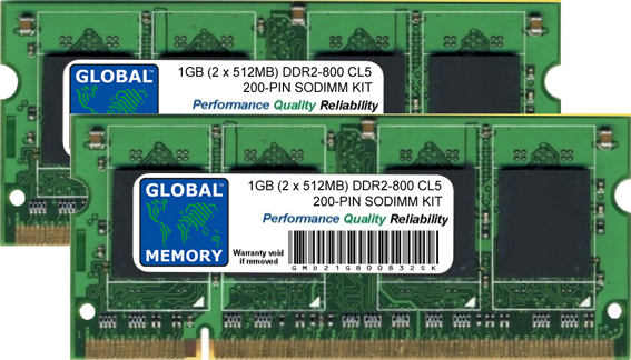 1GB (2 x 512MB) DDR2 800MHz PC2-6400 200-PIN SODIMM MEMORY RAM KIT FOR DELL LAPTOPS/NOTEBOOKS