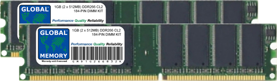 1GB (2 x 512MB) DDR 266MHz PC2100 184-PIN DIMM MEMORY RAM KIT FOR PC DESKTOPS/MOTHERBOARDS
