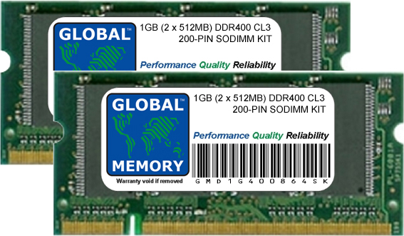 1GB (2 x 512MB) DDR 400MHz PC3200 200-PIN SODIMM MEMORY RAM KIT FOR PACKARD BELL LAPTOPS/NOTEBOOKS