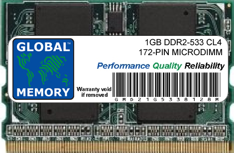 1GB DDR2 533MHz PC2-4200 172-PIN MICRODIMM MEMORY RAM FOR LAPTOPS/NOTEBOOKS