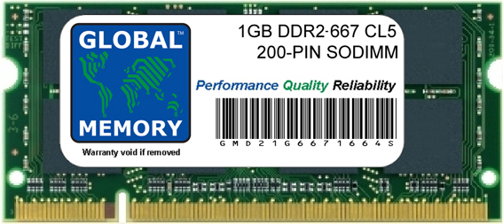 1GB DDR2 667MHz PC2-5300 200-PIN SODIMM MEMORY RAM FOR LAPTOPS/NOTEBOOKS
