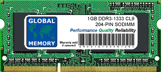 1GB DDR3 1333MHz PC3-10600 204-PIN SODIMM MEMORY RAM FOR HEWLETT-PACKARD LAPTOPS/NOTEBOOKS