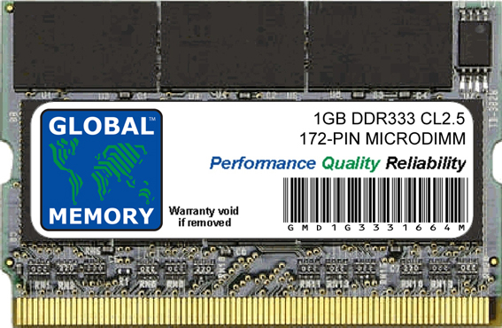 1GB DDR 333MHz PC2700 172-PIN MICRODIMM MEMORY RAM FOR SONY LAPTOPS/NOTEBOOKS
