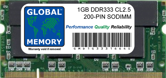 1GB DDR 333MHz PC2700 200-PIN SODIMM MEMORY RAM FOR IBOOK G4 (MID 2005) & ALUMINIUM POWERBOOK G4 (EARLY/LATE 2004 - EARLY 2005, DOUBLE LAYER SD DDR Version)