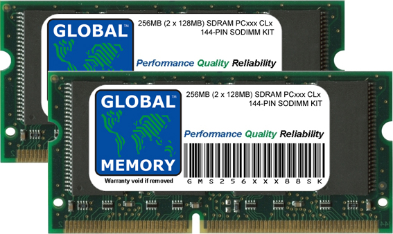 256MB (2 x 128MB) SDRAM PC66/100/133 144-PIN SODIMM MEMORY RAM KIT FOR COMPAQ LAPTOPS/NOTEBOOKS