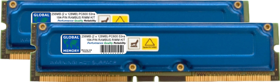 256MB (2 x 128MB) RAMBUS PC600 184-PIN RDRAM RIMM MEMORY RAM KIT FOR IBM DESKTOPS