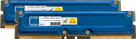 256MB (2 x 128MB) RAMBUS PC800 184-PIN RDRAM RIMM MEMORY RAM KIT FOR IBM DESKTOPS