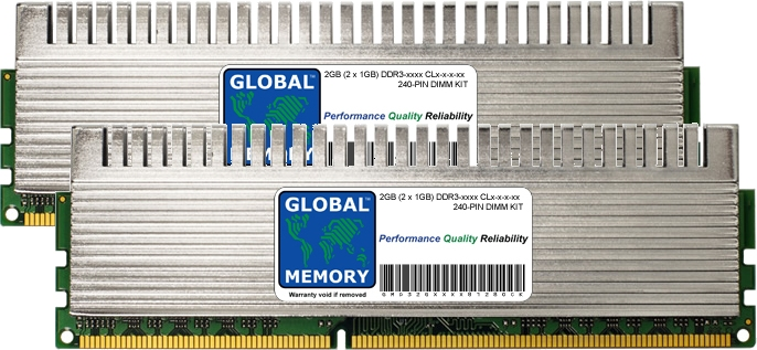 2GB (2 x 1GB) DDR3 1600/1800/2000MHz 240-PIN OVERCLOCK DIMM MEMORY RAM KIT FOR PC DESKTOPS/MOTHERBOARDS