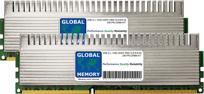 2GB (2 x 1GB) DDR3 1600MHz PC3-12800 240-PIN OVERCLOCK DIMM MEMORY RAM KIT FOR PC DESKTOPS/MOTHERBOARDS