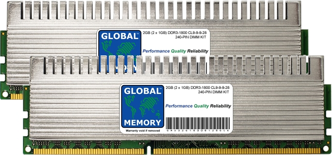 2GB (2 x 1GB) DDR3 1800MHz PC3-14400 240-PIN OVERCLOCK DIMM MEMORY RAM KIT FOR PC DESKTOPS/MOTHERBOARDS