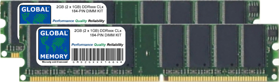 2GB (2 x 1GB) DDR 266/333/400MHz 184-PIN DIMM MEMORY RAM KIT FOR PC DESKTOPS/MOTHERBOARDS
