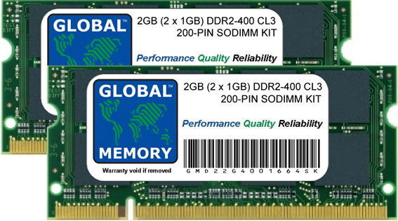 2GB (2 x 1GB) DDR2 400MHz PC2-3200 200-PIN SODIMM MEMORY RAM KIT FOR LAPTOPS/NOTEBOOKS