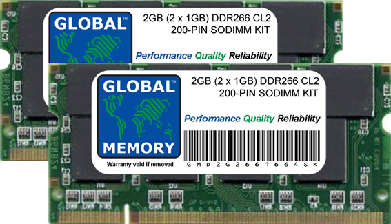2GB (2 x 1GB) DDR 266MHz PC2100 200-PIN SODIMM MEMORY RAM KIT FOR ACER LAPTOPS/NOTEBOOKS