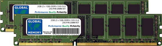 2GB (2 x 1GB) DDR3 1333MHz PC3-10600 240-PIN DIMM MEMORY RAM KIT FOR FUJITSU DESKTOPS