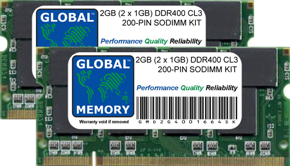 2GB (2 x 1GB) DDR 400MHz PC3200 200-PIN SODIMM MEMORY RAM KIT FOR ACER LAPTOPS/NOTEBOOKS