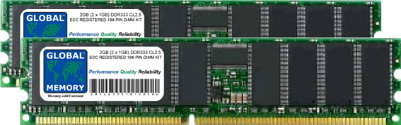 2GB (2 x 1GB) DDR 333MHz PC2700 184-PIN ECC REGISTERED DIMM (RDIMM) MEMORY RAM KIT FOR SERVERS/WORKSTATIONS/MOTHERBOARDS (CHIPKILL)