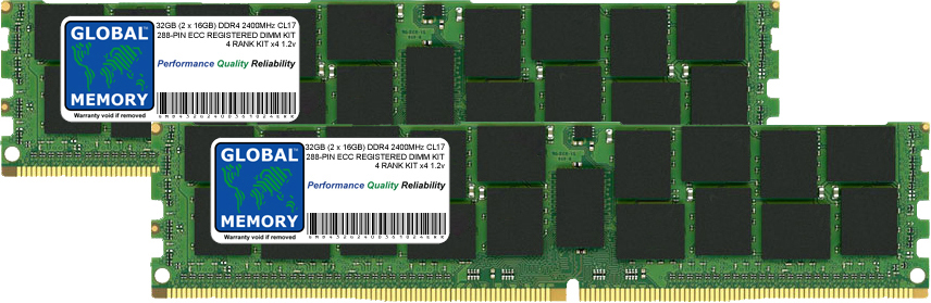 32GB (2 x 16GB) DDR4 2400MHz PC4-19200 288-PIN ECC REGISTERED DIMM (RDIMM) MEMORY RAM KIT FOR LENOVO SERVERS/WORKSTATIONS (4 RANK KIT CHIPKILL)