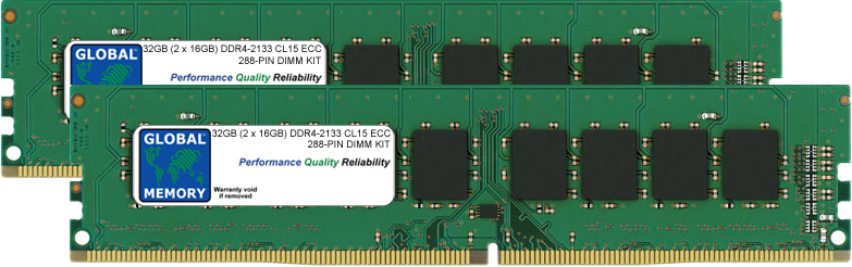 32GB (2 x 16GB) DDR4 2133MHz PC4-17000 288-PIN ECC DIMM (UDIMM) MEMORY RAM KIT FOR SERVERS/WORKSTATIONS/MOTHERBOARDS