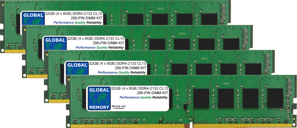 32GB (4 x 8GB) DDR4 2133MHz PC4-17000 288-PIN DIMM MEMORY RAM KIT FOR PC DESKTOPS/MOTHERBOARDS