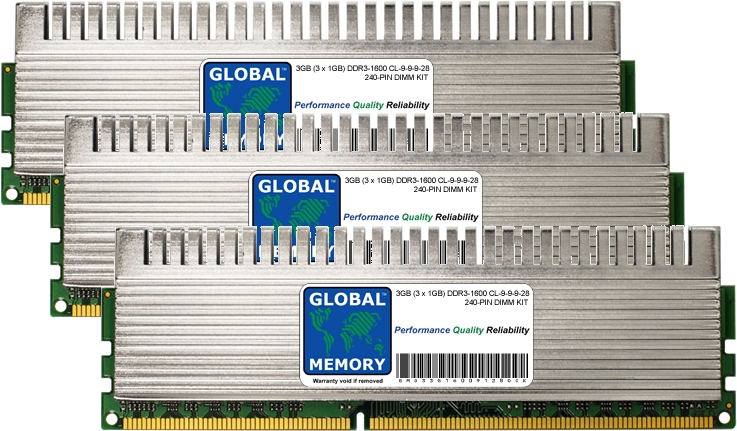 3GB (3 x 1GB) DDR3 1600MHz PC3-12800 240-PIN OVERCLOCK DIMM MEMORY RAM KIT FOR ADVENT DESKTOPS