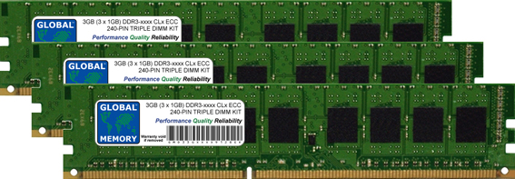 3GB (3 x 1GB) DDR3 800/1066/1333MHz 240-PIN ECC DIMM (UDIMM) MEMORY RAM KIT FOR DELL SERVERS/WORKSTATIONS