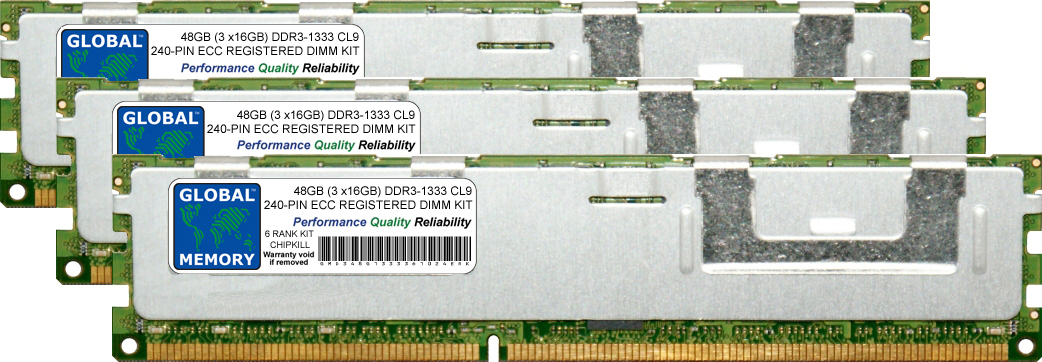 48GB (3 x 16GB) DDR3 1333MHz PC3-10600 240-PIN ECC REGISTERED DIMM (RDIMM) MEMORY RAM KIT FOR SUN SERVERS/WORKSTATIONS (6 RANK KIT CHIPKILL)