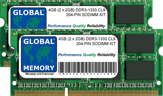 4GB (2 x 2GB) DDR3 1333MHz PC3-10600 204-PIN SODIMM MEMORY RAM KIT FOR ADVENT LAPTOPS/NOTEBOOKS