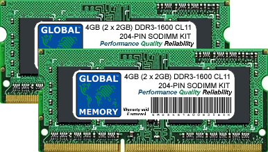 4GB (2 x 2GB) DDR3 1600MHz PC3-12800 204-PIN SODIMM MEMORY RAM KIT FOR PACKARD BELL LAPTOPS/NOTEBOOKS