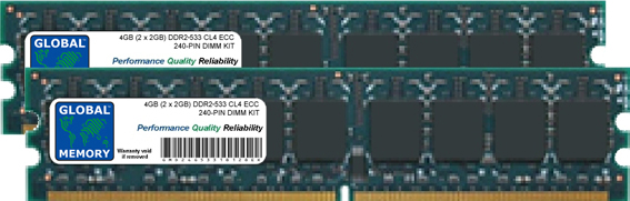 4GB (2 x 2GB) DDR2 533MHz PC2-4200 240-PIN ECC DIMM (UDIMM) MEMORY RAM KIT FOR FUJITUS-SIEMENS SERVERS/WORKSTATIONS