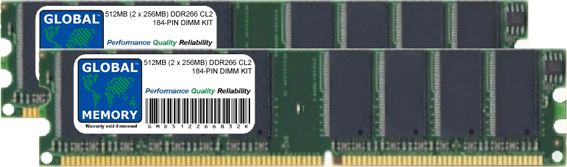 512MB (2 x 256MB) DDR 266MHz PC2100 184-PIN DIMM MEMORY RAM KIT FOR IBM/LENOVO DESKTOPS