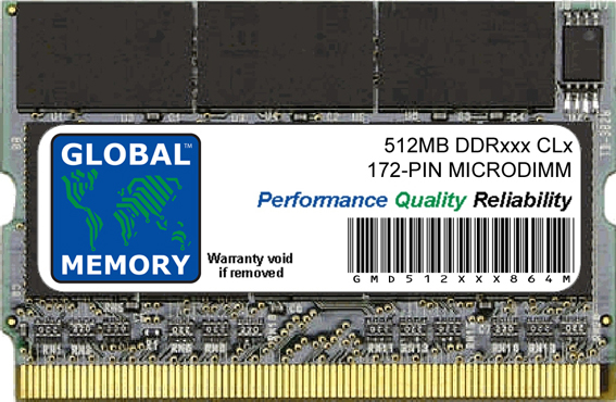 512MB DDR 266/333MHz 172-PIN MICRODIMM MEMORY RAM FOR SONY LAPTOPS/NOTEBOOKS