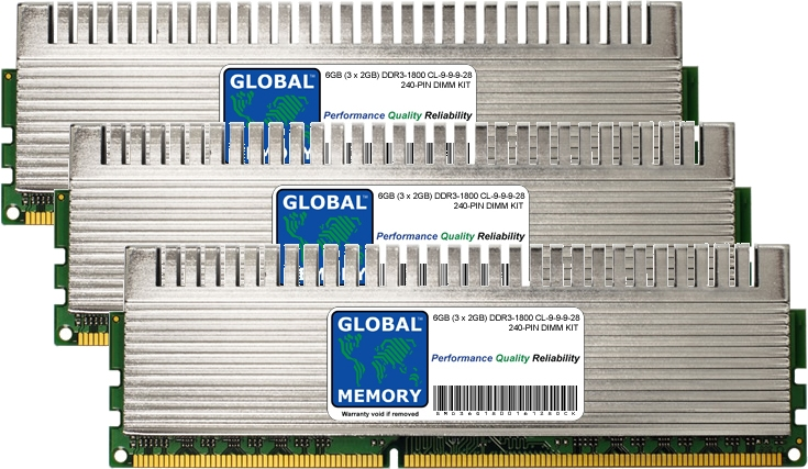 6GB (3 x 2GB) DDR3 1800MHz PC3-14400 240-PIN OVERCLOCK DIMM MEMORY RAM KIT FOR PC DESKTOPS/MOTHERBOARDS