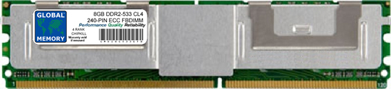 8GB DDR2 533MHz PC2-4200 240-PIN ECC FULLY BUFFERED DIMM (FBDIMM) MEMORY RAM FOR COMPAQ SERVERS/WORKSTATIONS (2 RANK CHIPKILL)