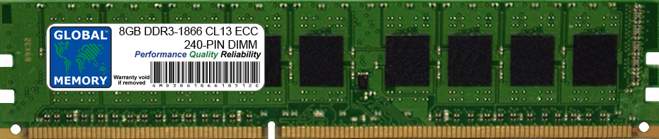 8GB DDR3 1866MHz PC3-14900 240-PIN ECC DIMM (UDIMM) MEMORY RAM FOR HEWLETT-PACKARD SERVERS/WORKSTATIONS