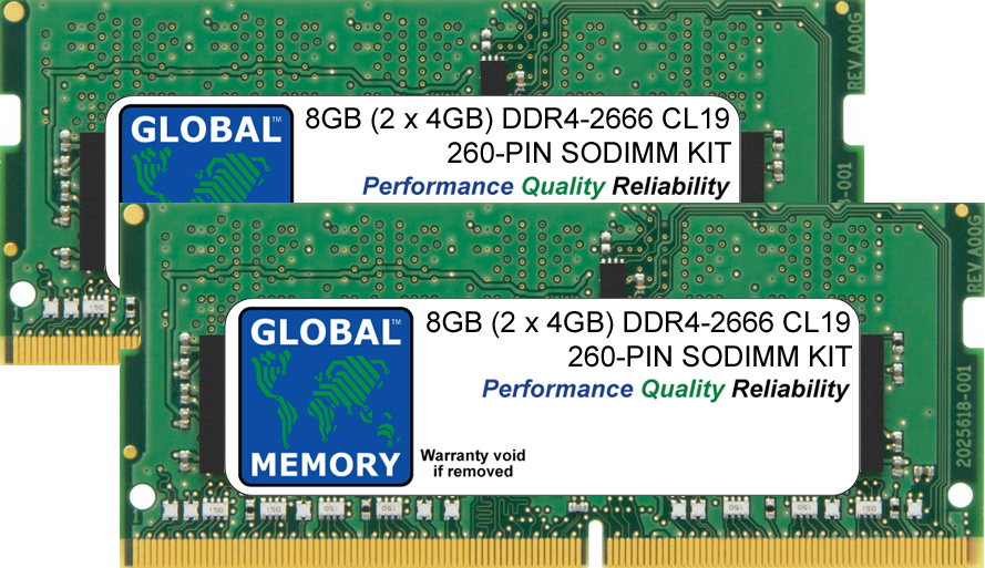 8GB (2 x 4GB) DDR4 2666MHz PC4-21300 260-PIN SODIMM MEMORY RAM KIT FOR LENOVO LAPTOPS/NOTEBOOKS