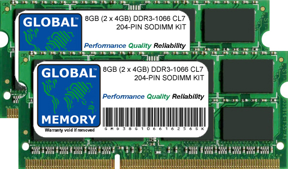 8GB (2 x 4GB) DDR3 1066MHz PC3-8500 204-PIN SODIMM MEMORY RAM KIT FOR ADVENT LAPTOPS/NOTEBOOKS