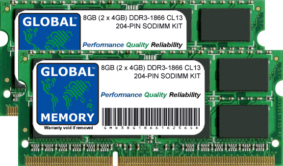 8GB (2 x 4GB) DDR3 1866MHz PC3-14900 204-PIN SODIMM MEMORY RAM KIT FOR TOSHIBA LAPTOPS/NOTEBOOKS