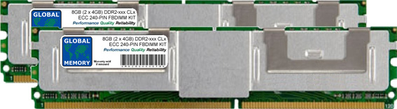 8GB (2 x 4GB) DDR2 533/667/800MHz 240-PIN ECC FULLY BUFFERED DIMM (FBDIMM) MEMORY RAM KIT FOR SERVERS/WORKSTATIONS/MOTHERBOARDS (4 RANK KIT CHIPKILL)