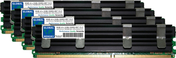 8GB (4 x 2GB) DDR2 667MHz PC2-5300 240-PIN ECC FULLY BUFFERED DIMM (FBDIMM) MEMORY RAM KIT FOR MAC PRO (ORIGINAL/ MID 2006)