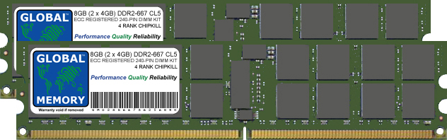 8GB (2 x 4GB) DDR2 667MHz PC2-5300 240-PIN ECC REGISTERED DIMM (RDIMM) MEMORY RAM KIT FOR SUN SERVERS/WORKSTATIONS (4 RANK KIT CHIPKILL)