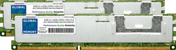 8GB (2 x 4GB) DDR3 1333MHz PC3-10600 240-PIN ECC REGISTERED DIMM (RDIMM) MEMORY RAM KIT FOR SERVERS/WORKSTATIONS/MOTHERBOARDS (4 RANK KIT CHIPKILL)